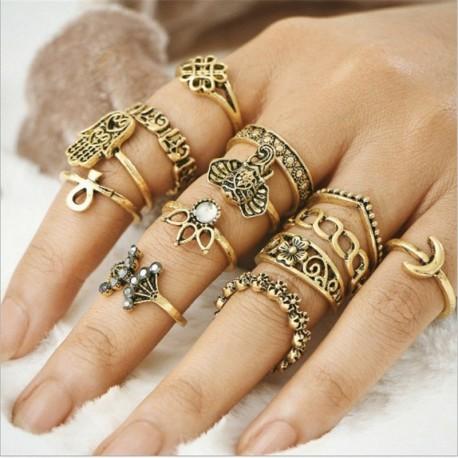 13db / készlet Ősi arany - 20db Boho verem sima felett csülök gyűrű Midi ujjhegy gyűrűk készlet ezüst / arany