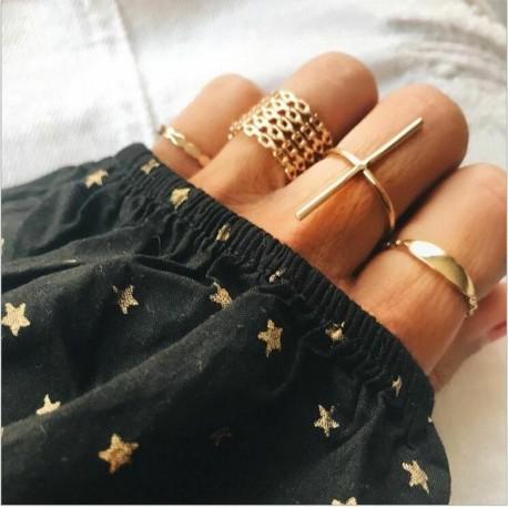 7db / 1. arany készlet - 20db Boho verem sima felett csülök gyűrű Midi ujjhegy gyűrűk készlet ezüst / arany