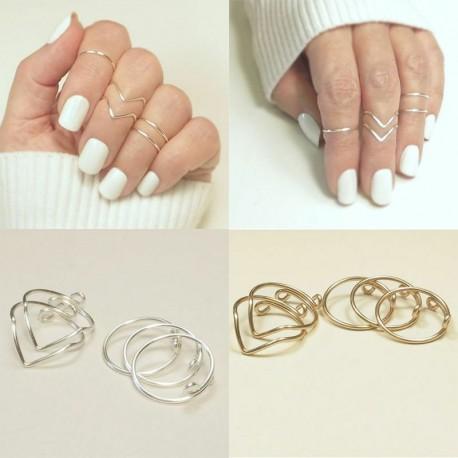5db / 1. arany készlet - 20db Boho verem sima felett csülök gyűrű Midi ujjhegy gyűrűk készlet ezüst / arany