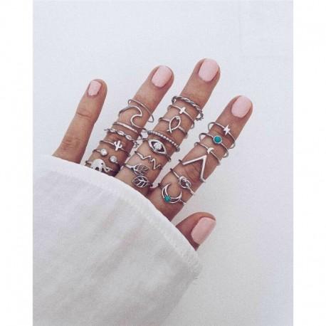 20db / Ezüst szett - 20db Boho verem sima felett csülök gyűrű Midi ujjhegy gyűrűk készlet ezüst / arany
