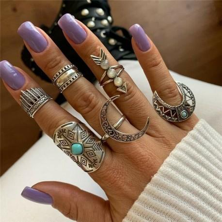 6db / szett ezüst @ 1 - 20db Boho verem sima felett csülök gyűrű Midi ujjhegy gyűrűk készlet ezüst / arany