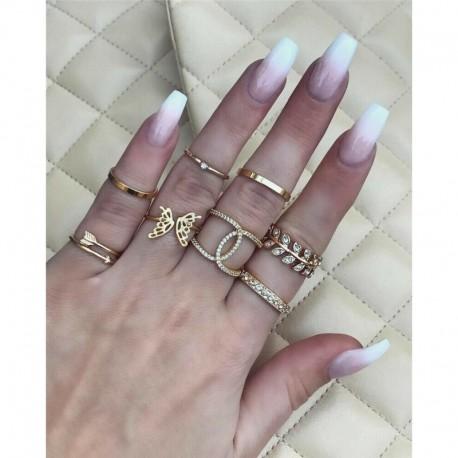 8db / arany készlet @ 2 - 20db Boho verem sima felett csülök gyűrű Midi ujjhegy gyűrűk készlet ezüst / arany