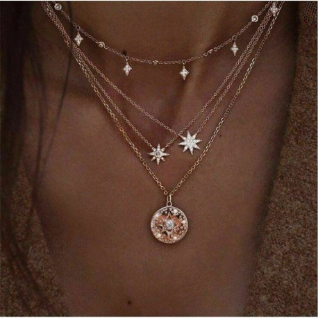 * 121 Choker csillag kristálylánc ... - Többrétegű női női ötvözet kulcscsont choker nyaklánc bűbáj lánc ékszerek