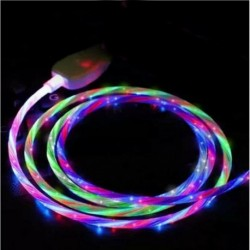 Mikro Android színes - Áramló LED világít USB szinkron töltő adatkábel töltőkábel C típusú telefonhoz