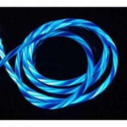 C típusú kék - Áramló LED világít USB szinkron töltő adatkábel töltőkábel C típusú telefonhoz