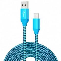 Nincs szín - 1 millió Android töltőkábel Tartós, hosszú nylon fonott szinkron kék vezeték Samsung számára