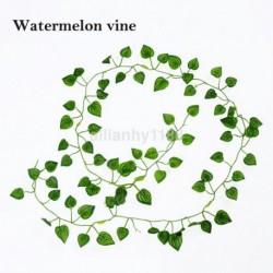 Görögdinnye szőlő - 2M mesterséges borostyánlevél füzér zöld növény műanyag lombozat otthoni kerti dekoráció