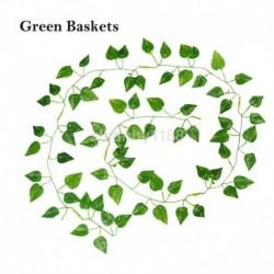 Zöld kosarak - 2M mesterséges borostyánlevél füzér zöld növény műanyag lombozat otthoni kerti dekoráció