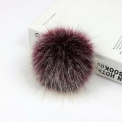 12 cm-es borvörös   nyomógomb - Barkácsolás Női Faux Mosómedve Szőrme Pom Poms Labda a Beanie Hat kiegészítők
