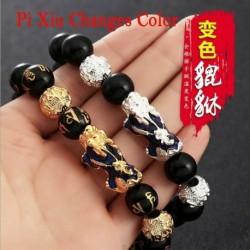 Nincs szín - 2020 Feng Shui fekete obszidián gyöngy ezüst Pi Xiu vagyon karkötő szerencsés ékszer