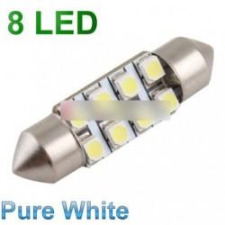 2db 36mm autó belső 8 LED SMD festoon izzó fehér