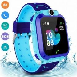 Kék (vízálló) - Vízálló gyerekek intelligens órája elveszett, biztonságos GPS Tracker SOS hívás Android iOS