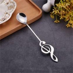 ezüst - Rozsdamentes acél zenei jegyzet alakú kanalak tea Keverő kanállal Stílusos AJÁNDÉK