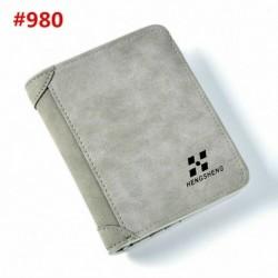 A980-Grey - Férfi bőr pénztárca zsebes igazolvány tartó Billfold vékony tengelykapcsoló kétoldalas pénztárca USA