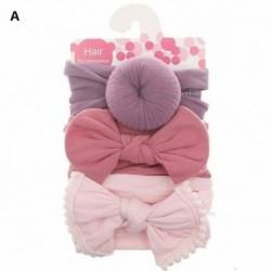 A - 3db baba gyerek íj csomó rugalmas fejpánt turbán kisgyermek lányok hajszalag fejfedő