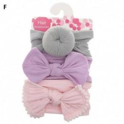 F - 3db baba gyerek íj csomó rugalmas fejpánt turbán kisgyermek lányok hajszalag fejfedő