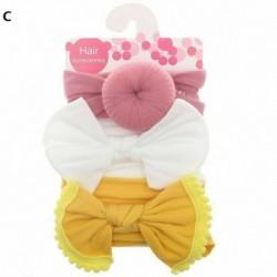 C - 3db baba gyerek íj csomó rugalmas fejpánt turbán kisgyermek lányok hajszalag fejfedő