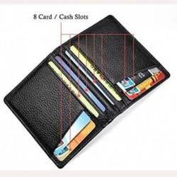 * 445 - Férfi valódi bőr kettős pénztárca azonosító hitelkártya tartó mini pénztárca pénztárca