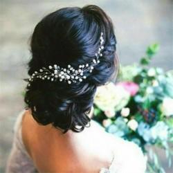 Nincs szín - Női esküvői menyasszonyi menyasszonyi fejdísz gyöngy kristályos hajfésű kiegészítők UK