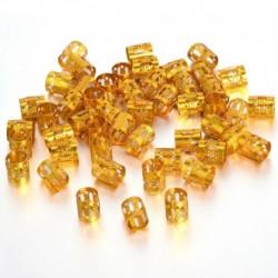 Arany - 50 db Dread Lock haj állítható hajfonat mandzsetta klip gyöngy cső gyűrű tartozék