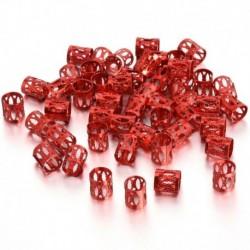 Piros - 50 db Dread Lock haj állítható hajfonat mandzsetta klip gyöngy cső gyűrű tartozék