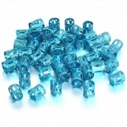 Kék - 50 db Dread Lock haj állítható hajfonat mandzsetta klip gyöngy cső gyűrű tartozék