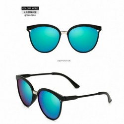 Zöld lencse - Vintage női tükörtervező lapos lencsés napszemüveg retro szemüveg szemüveg