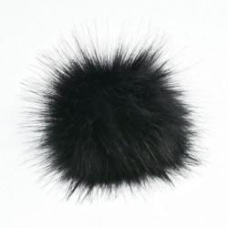 Fekete - 11 cm-es nagyméretű mosómedve szőrme Pom Pom labda nyomógombbal a kötött sapka barkácsolásához