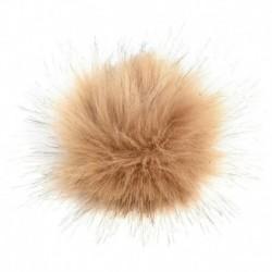Khaki - 11 cm-es nagyméretű mosómedve szőrme Pom Pom labda nyomógombbal a kötött sapka barkácsolásához