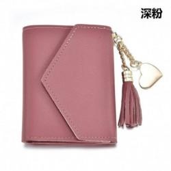 Sötét rózsaszín - Női bőr mini bojt pénztárca kártya tartó kuplung érme pénztárca kézitáska pénztárca táska