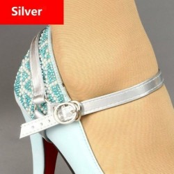 Ezüst - Levehető PU bőr cipőhevederek fűzősávok laza, magas sarkú cipők tartására