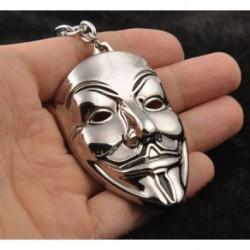 * 32 Ezüst V maszk - Unisex kreatív ötvözet fém kulcstartó autó kulcstartó kulcstartó iránytű kulcstartó gyűrű