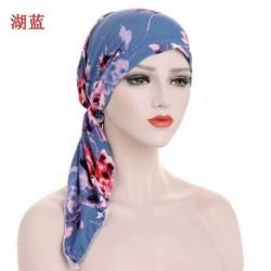 Kék - Női muszlim turbán sapka Hidzsáb Stretch pamut Bandana fejkendővel csomagolva Chemo sapkát!