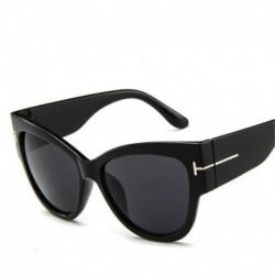Fekete keret   fekete és szürke lencse - Női divat macska szem napszemüveg UV400 T betű szemüveg szemüveg retro