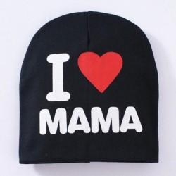Fekete & MAMA - UK Toddler Kids puha pamut téli meleg Beanie Hat csecsemő baba fiú lány sapka