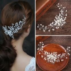 Nincs szín - Menyasszony menyasszonyi gyöngy hajfésű esküvői fejfedő női ékszerek haj kiegészítők AU