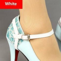 fehér - Levehető PU bőr cipőhevederek fűzősáv a laza magassarkú cipő tartásához