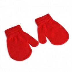 Piros - Kisgyermek gyerekek puha kötőkesztyű baba fiú lány aranyos ujjatlan téli meleg kesztyű