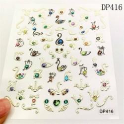 Ideiglenes köröm tetoválás - vízálló matrica - unisex - Pillangó mintás - DP416 verzió