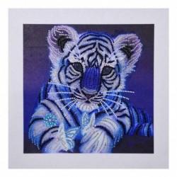 Nincs szín - 5D barkács speciális alakú gyémántfestés tigris állati keresztöltésű hímzés