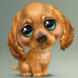 * 4 Hund 30 * 30cm - 5D barkács teljes fúrással gyémántfestés rajzfilm kutya keresztszemes hímző készletek
