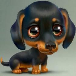 * 2 Hund 30 * 30cm - 5D barkács teljes fúrással gyémántfestés rajzfilm kutya keresztszemes hímző készletek