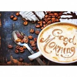 Nincs szín - 5D barkács teljes fúrással gyémántfestés kávé hímzés mozaik készlet lakberendezés