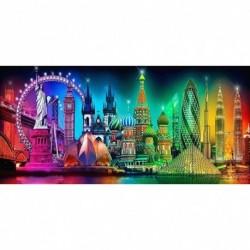 Nincs szín - Muyunnet 5D barkács teljes körű fúró gyémántfestés város éjszakai nézet hímzés 9DE
