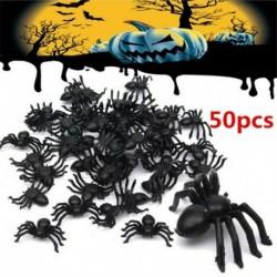 Nincs szín - 50 db kicsi fekete műanyag hamis pókjáték Halloween vicces tréfa tréfa