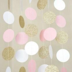Nincs szín - Csillogó kör pöttyös Garland Banner sármány party dekoráció rózsaszín fehér és arany
