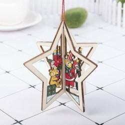 1db 10x10cm-es Csillag alakú mackó mintás fa dísz - Karácsonyi dekoráció