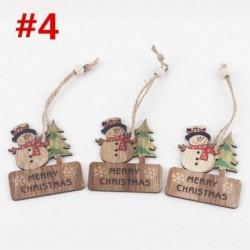 3db 6x7cm-es Boldog Karácsonyt feliratos - Hóember mintás fa dísz - Karácsonyi dekoráció - 4
