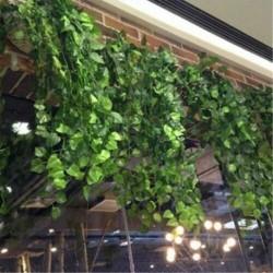 Nincs szín - 2m mesterséges borostyán levél szőlő otthoni esküvői dekoráció füzér hamis növény lombozat zöld