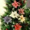 Nincs szín - 10 db 14 cm-es csillogó Mikulásvirág virág Karácsonyi koszorúfa díszítés karácsonyi ajándék